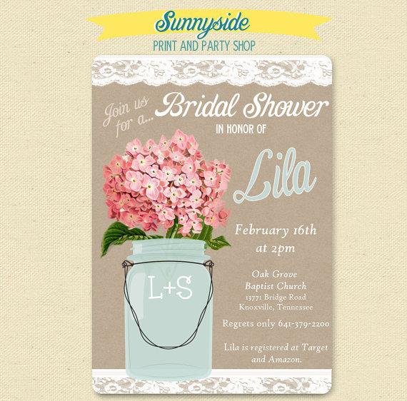 Wedding - Pink Hydrangea - Lace Mason Jar Invitation - Bridal / Wedding Shower Invite - Shabby Chic