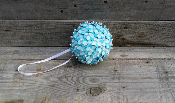 Blue Paper Flower Pomander Rustic Wedding Pomander Flower Girl