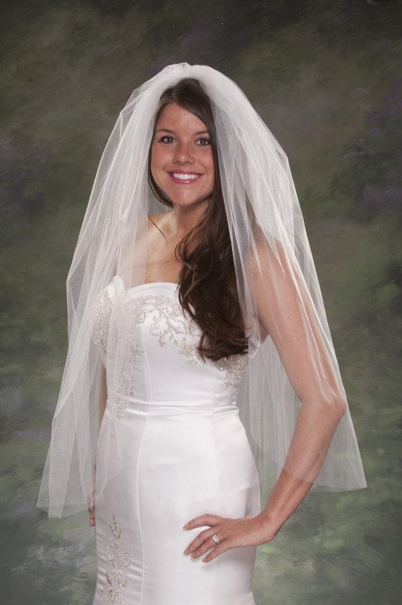 Boda - Bridal Veil Plain Cut 1 Layer Veil Elbow Length 36 Veils Traditional Veils 108 Wide Veils Tulle Veil Ivory Veils Diamond White Veils