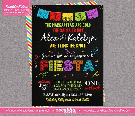 Wedding - Fiesta Engagement Party Invitation Bridal Shower Invitation Papel Picado Mexican Fiesta Printable Rehearsal Dinner Colorful- Digital File