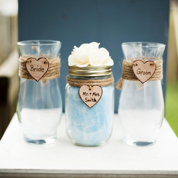 Wedding - Personalized Rustic Heart Bride & Groom Shabby Chic Mason Jar Vase Unity Sand Ceremony Country Collection Set 3 Glass Vases and wood hearts