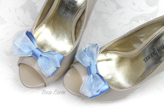 Mariage - Blue Shoe Clips, Blue Bow Shoe Clip, Blue Wedding Bow Clip Shoes, Something Blue Wedding Accessories