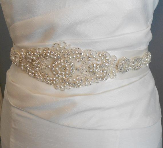 Mariage - Bridal Sash, Beaded Sash Wedding Dress Sash, Rhinestone and Pearl Sash Satin Tie. A Beautiful Sash