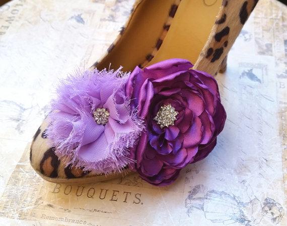 Mariage - 20% off sale, Shoe Clips, Vintage Flower Shoe Clips, Bridal Shoe Clips, purple, eggplant flower, bridal shoe, bridesmaids shoes, dark purple