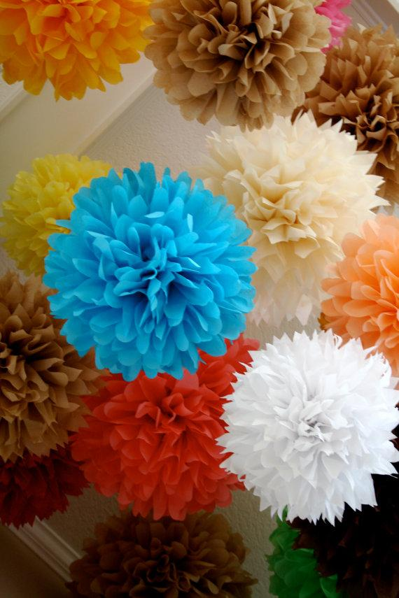 Wedding - Custom Colors ... 15 tissue paper poms // wedding decorations // diy  // birthday // graduation // party decorations