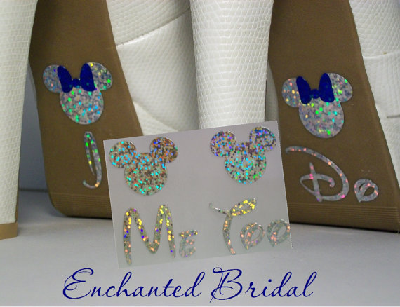 Wedding - NEW Disney Inspired Minnie I Do and Me Too Shoe Stickers You Pick Color Sparkly Wedding Shoe Decals