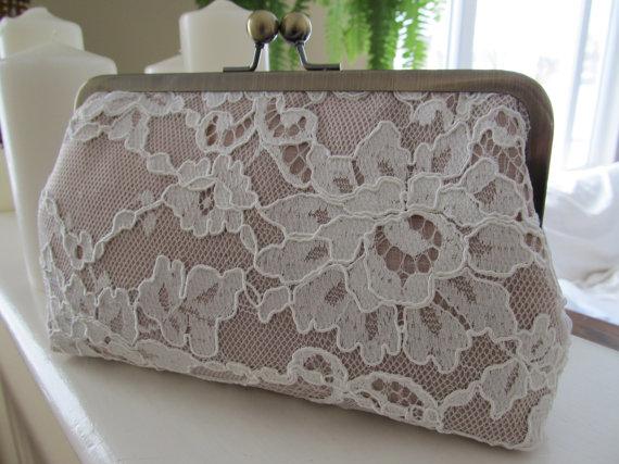 زفاف - Silk And French Chantilly Lace Ivory ChampagneClutch,Bridal Accessories,Wedding Clutch,Bridal Clutch,Bags And Purses