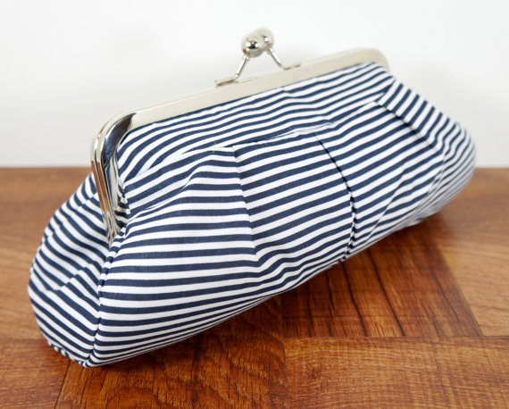Framed Pleated Nautical Clutch Purse Navy Blue And White Striped Bag Wedding Free Shipping