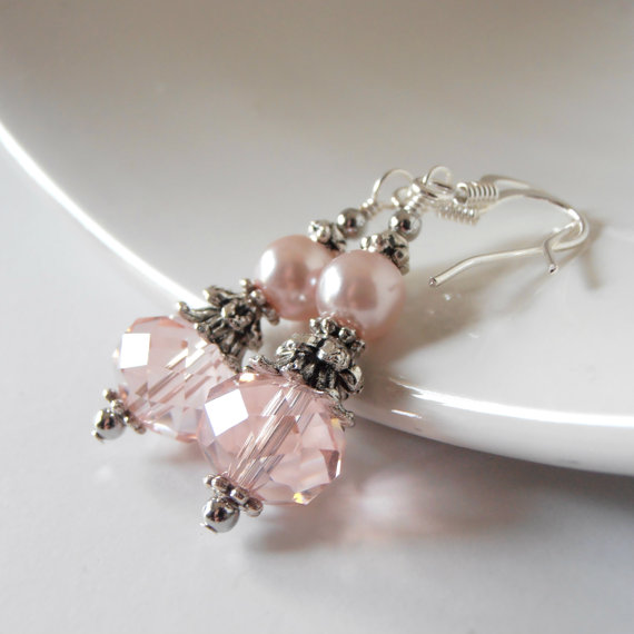 Blush Pink Bridal Jewelry Pink Bridesmaid Earrings Crystal And