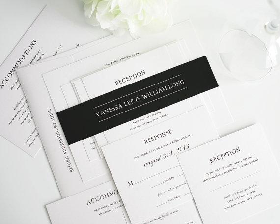زفاف - Simple Wedding Invitation, Elegant Black and White Wedding Invitation Package - Simple Elegance - Sample Set