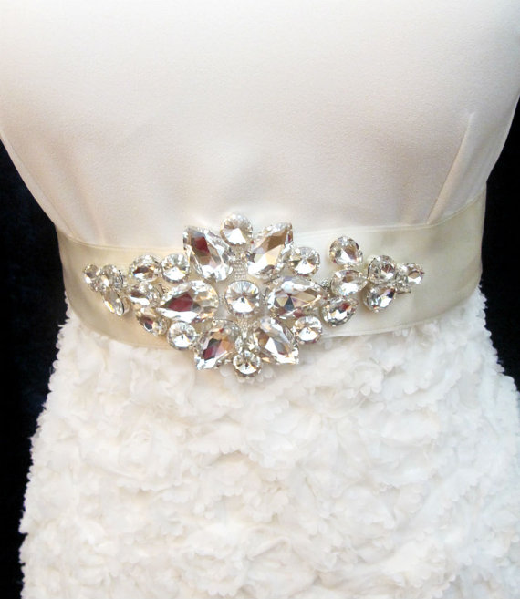 Mariage - Rhinestone Bridal Sashes Wedding Crystal Sash Belt