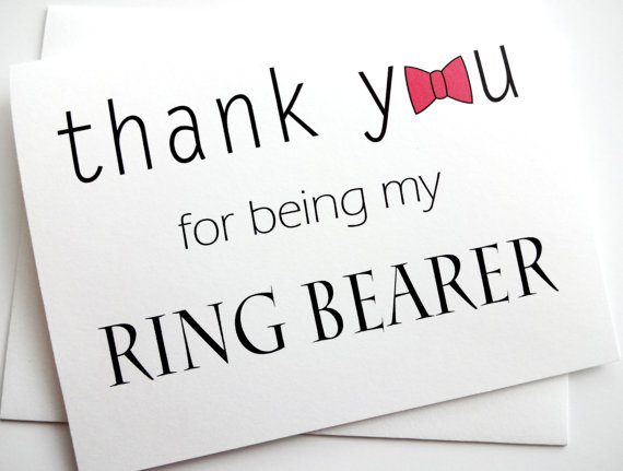 Свадьба - Thank You Ring Bearer Card with bow tie design