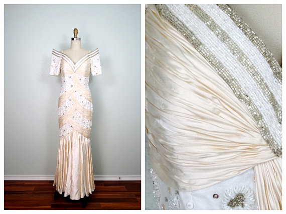 Mariage - VTG Claire's Collection Wedding Gown // Beaded Sequin Embellished Vintage Pageant Gown // Ruche White & Ivory Dress Size 6