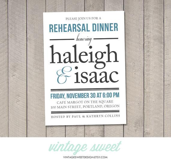 Wedding - Wedding Rehearsal Dinner Invitation DIY (Printable) by Vintage Sweet
