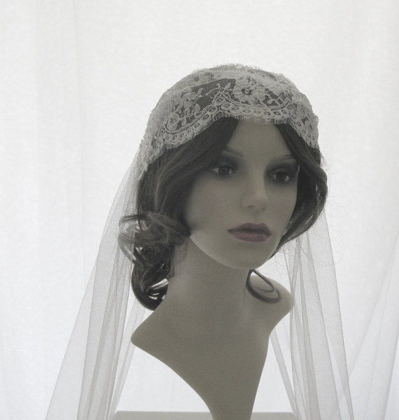 Wedding - Couture bridal cap veil -1920s wedding  veil - Lady Alice