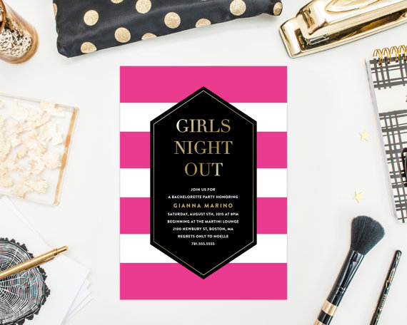 Wedding - Printable - Bold Stripes Bachelorette Party Invitation