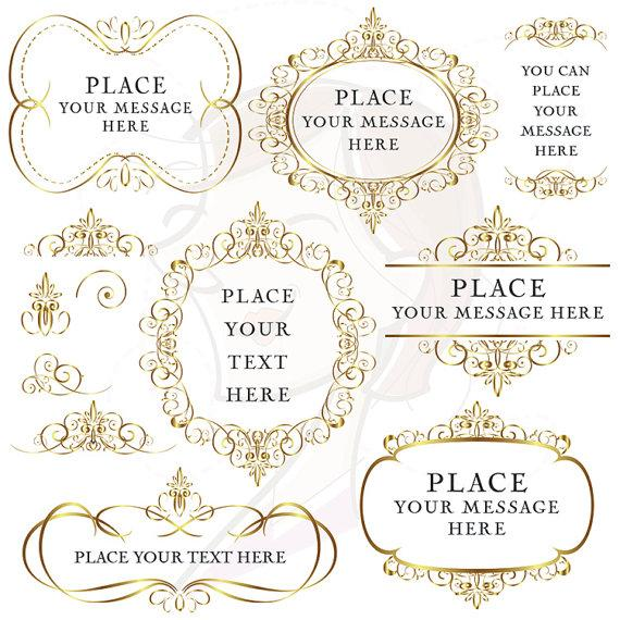Gold Flourish Borders Frames Clip Art, Digital Vintage Decorative Clipart,  Elegant Swirl Foliage Borders DIY Wedding Invitations 10053
