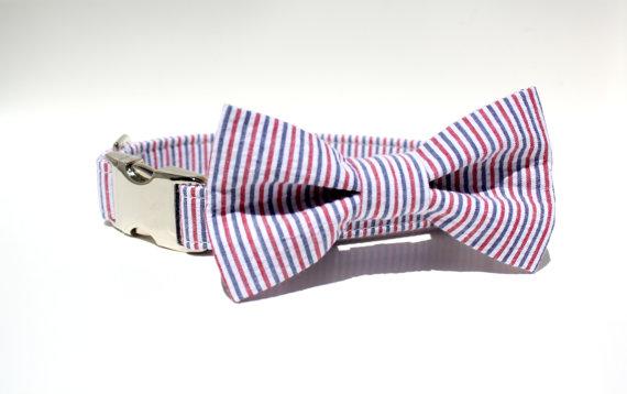 زفاف - Americana Striped Seersucker Dog Collar with Metal Buckle and Bow Tie Set / Wedding Dog Collar / Red White and Blue / Collar and Bow Tie Set