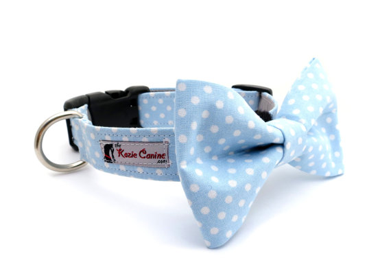 Свадьба - Polka Dot Dog Collar (Light Blue & White) (Dog Collar Only - Matching Bow Tie Available Separately)