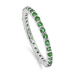 زفاف - 2MM Stackable Band Rhodium Over 925 Sterling Silver Round Emerald Green Channel Setting Ladies Wedding Engagement Anniversary Ring Size 5-10