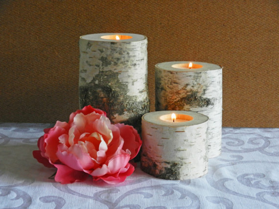 Wedding - Birch Candle Holders - Set of 3 - Rustic Birch Candles, Tea Light Birch Bark Candle Holders