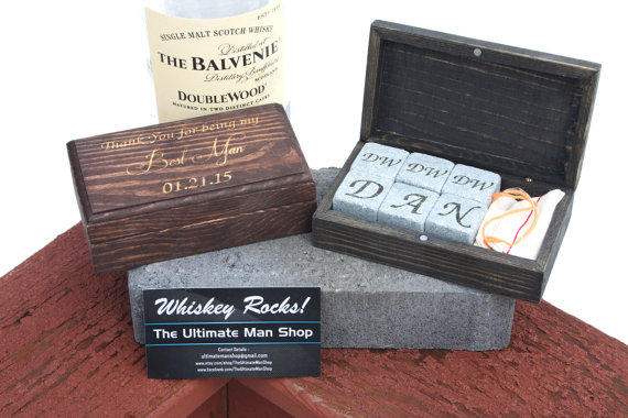 Свадьба - Unique Groomsmen Gift, 6 Engraved Whiskey Stones in Personalized Rectangle Box, The Perfect Valentine's, Birthday present for Whisky Lovers
