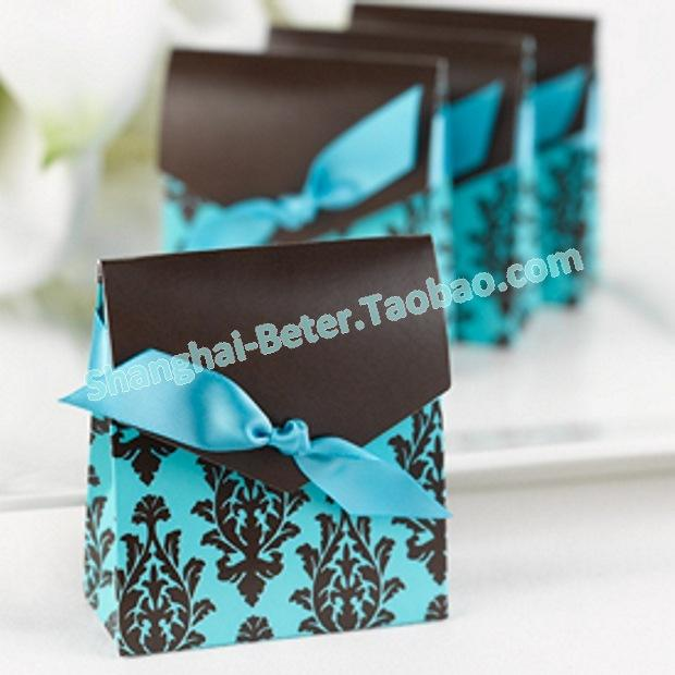 Wedding - 12pcs Brown Damask Candy Box Quality Party Decor Ideas TH013