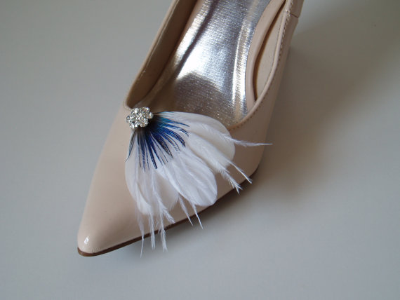 Свадьба - Shoeclips Wedding Shoes Shoe Clips Bridal Accessories bridal shoes BLUE PEACOCK