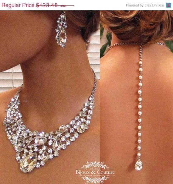 Свадьба - Bridal jewelry set, Bridal back drop bib necklace earrings, vintage inspired pearl rhinestone bridal necklace statement, wedding jewelry set