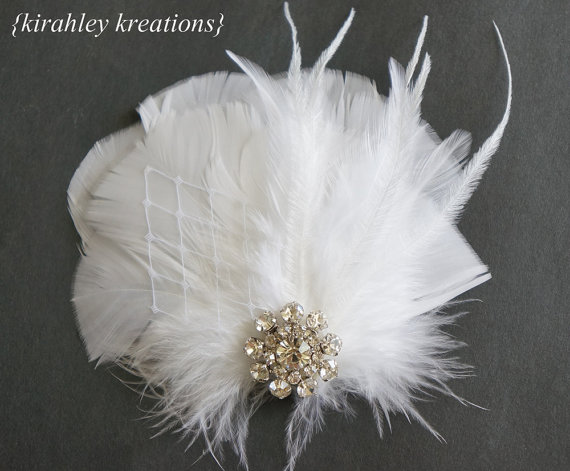 Mariage - NAIRI -- Pure White Feather Wedding Hair Clip Hairpiece Fascinator w/ Rhinestone & Veil for Bride, Bridesmaids, Prom - Colors Customizable