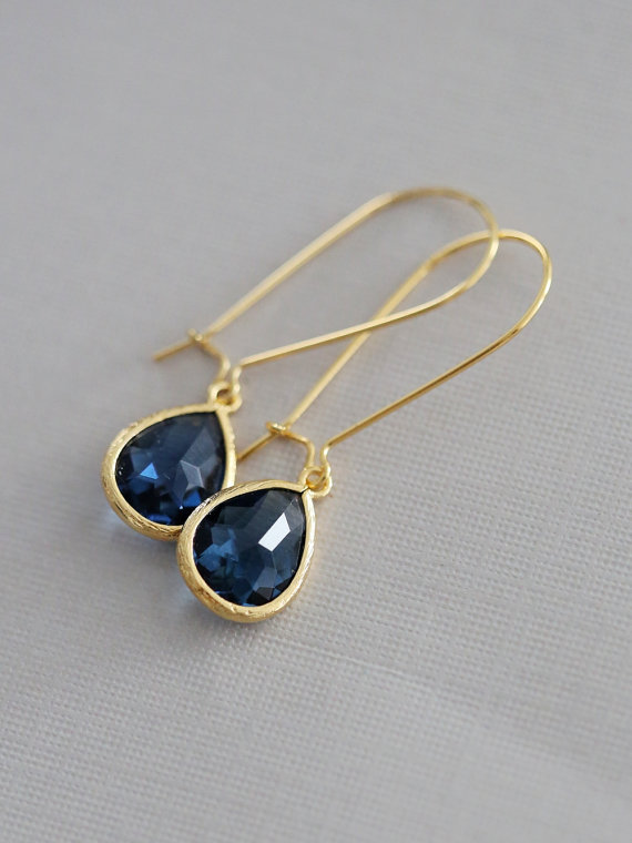 Mariage - Sapphire Earrings,Jewelry,Pendant, Gold Earrings,Diamond Earrings,Gold Earrings, Gold Faceted Earring,Wedding,Bridal, Bridesmaid Gift