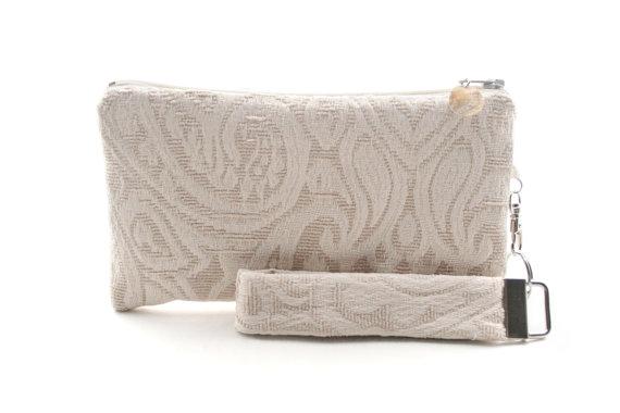 Mariage - Rustic clutch - ivory bridal purse - bridesmaid clutch - vintage wedding clutch - evening bag - recycled small purse