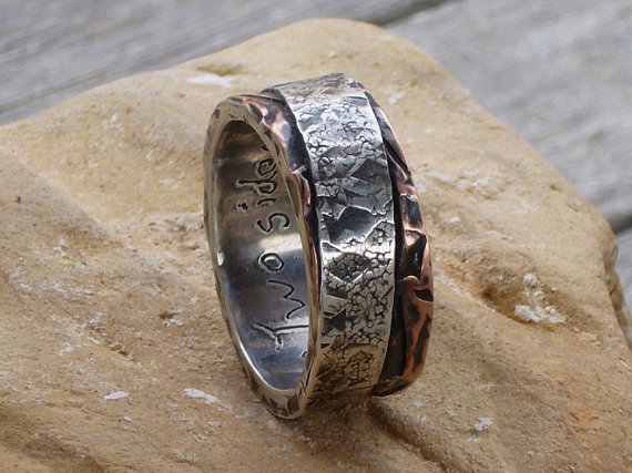 Wedding - Two sides to every story. Mans ring of sterling silver and copper. Mans engagement ring.