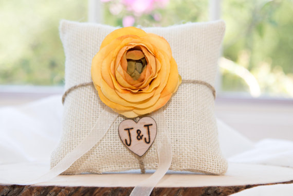 Mariage - Yellow Ranunculus flower custom ivory burlap ring bearer pillow  shabby chic with engraved heart  initials... many more colors available