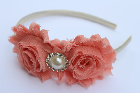 Свадьба - Coral headband plastic headband flower girl headband coral wedding plastic hard cream headband Satin headband coral wedding white wedding