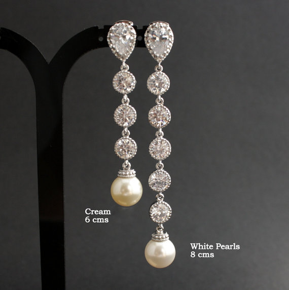 Extra Long Wedding Pearl Earrings Cubic Zirconia Drop Crystal Silver Post