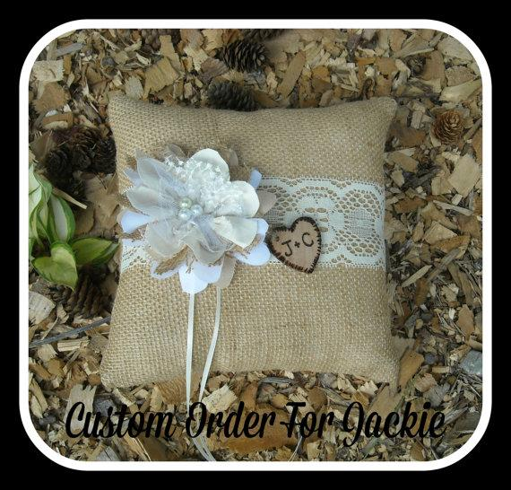 Свадьба - Custom Order For Jackie ~ 2 Personalized Ring Bearer Pillows ~ 2 Personalized Flower Girl Buckets
