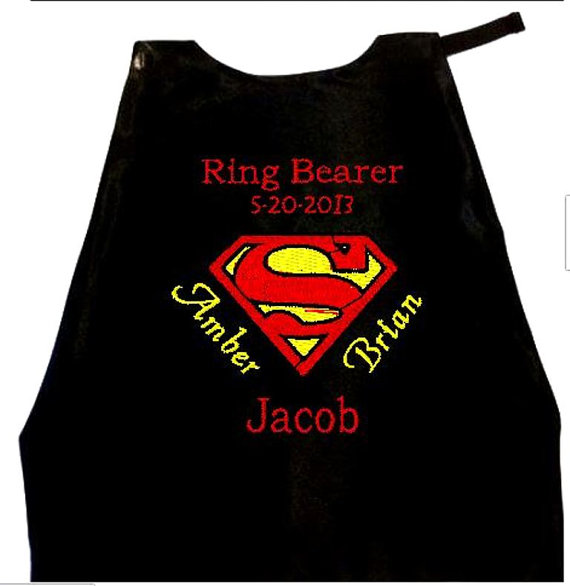 Hochzeit - Super Hero Ring Bearer Superman Cape,  Embroidered Ring Bearer Cape Personalized Wedding Photo Op