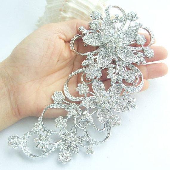 Свадьба - Wedding Accessories, Wedding Brooch, Bridesmaid Jewelry, Bouquet Brooch, Wedding Bridal Rhinestone Flower Brooch Pin BP04049C1