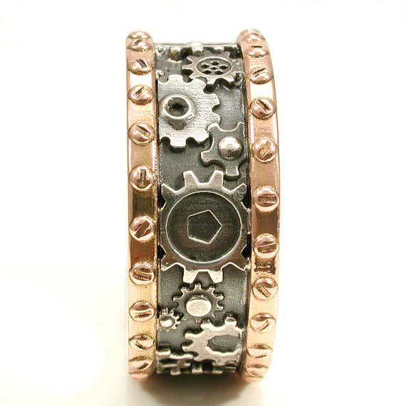 Wedding - Rose Gold Steampunk Gear Ring Sterling Silver - Mens Engagement Ring Industrial