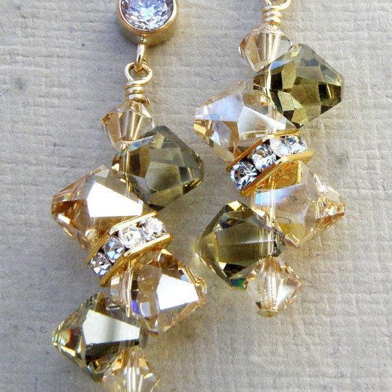 Champagne Peridot Crystal Earrings Yellow Gold Green Swarovski Rhinestone Bridesmaid Bridal Wedding Handmade Jewelry August Birthday