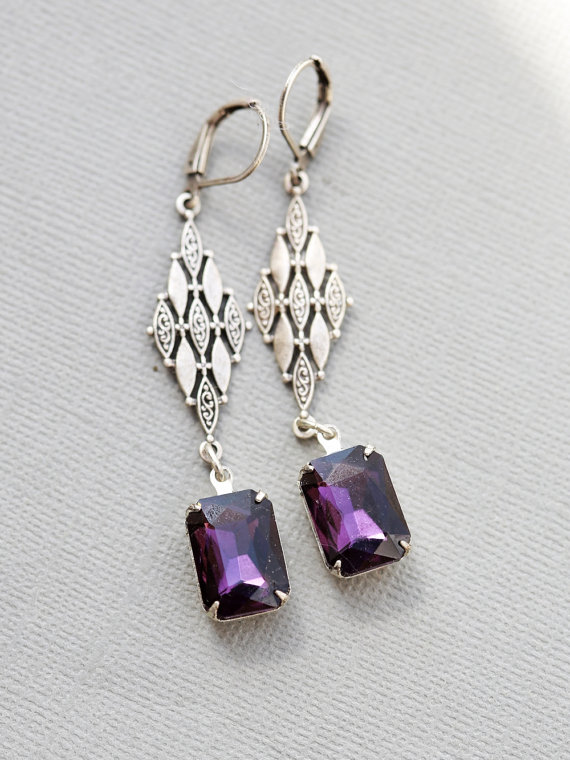 Свадьба - Sale-Purple Goddess Emerald Green Earrings Vintage Style Rhinestone,Bridal Earrings Bridesmaid Gift Wedding Earrings Wedding Jewelry