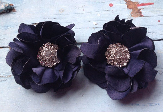 Hochzeit - Navy Blue Fabric Flowers, Hair Clips, Navy Blue Wedding Flowers, Hair Bows, Bridesmaid Hair Accessories, Assorted Colors, Girls Hair Flowers