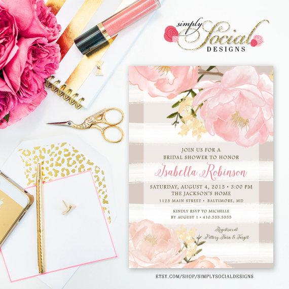 Romantic garden peonie flowers taupe stripes blush pink bridal romantic garden peonie flowers taupe stripes blush pink bridal shower invitation printable filmwisefo