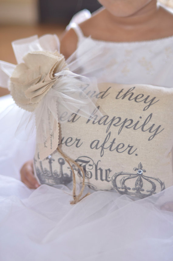 Mariage - And They Lived Happily Ever After Ring Bearer Pillow by Burlap and Linen Co