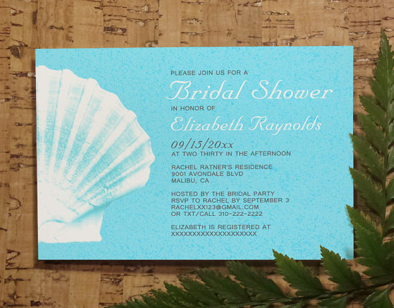 Wedding - Elegant Beach Seashells Destination Bridal Invitations, Bridal Shower, Wedding Party Invites, Printable, Digital PDF, DIY Template, Printed