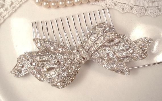 Mariage - Brooch OR Hair Comb,  Art Deco 1920s Original Vintage Rhinestone Large Bow Bridal Hairpiece / Dress Sash Pin, Antique Gatsby Prom Wedding