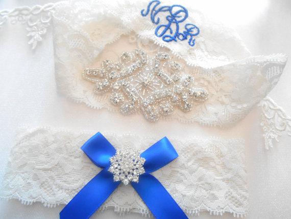 Hochzeit - Wedding Garter Beautiful Lingerie Lace MONOGRAM Option Bridal Garter Set Gorgeous Crystalsl Lingerie Lace