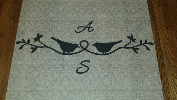 Свадьба - Bird Branch with Initials Handpainted Monogram Wedding Aisle Runner with Custom Sizing and Personalized Details