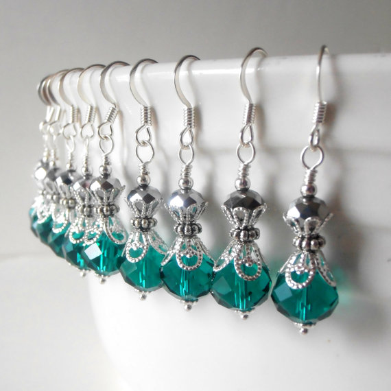 Mariage - Teal Bridesmaid Earring Crystal Earring Bridesmaid Jewelry Teal Wedding Earring Bridesmaid Gift Beaded Jewelry Faceted Dangles